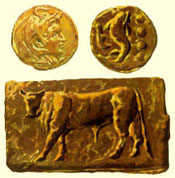 Ancient coin with effigy